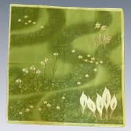 Green and White Calla Lily Handkerchief Hankie