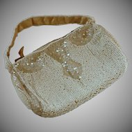 1930's White Beaded Small Purse
