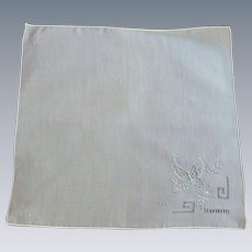 White Handkerchief with Embroidered Butterfly