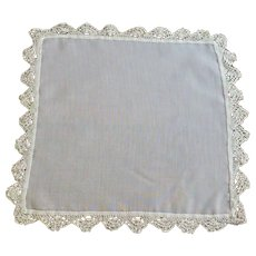 Plain White Handkerchief with Crochet Lace on Edge