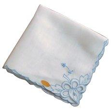 White and Blue Cutwork Dainty Scallop Handkerchief