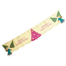 Hand Made 1950's Sequin Merry Christmas Banner
