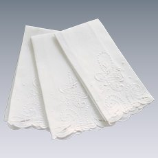 Three White on White Cutout Embroidered Hand Towels