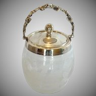 Etched English Glass Biscuit Jar with Handle