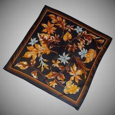 Black with Orange / Brown Leaves Scarf