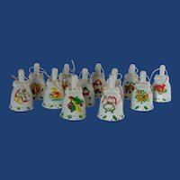 J. C. Penney 12 Days of Christmas Ornament collection Ceramic Bells