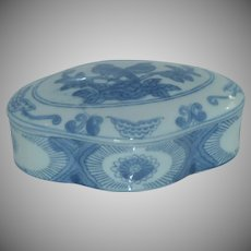 Asian Blue and White Porcelain Box w/Lid