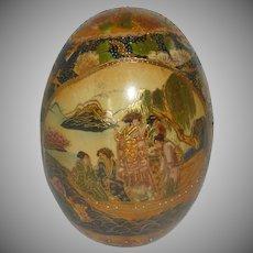Large Satsuma Hand Painted Decorated Egg