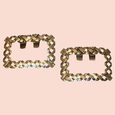 Gold Tone Hatch Pattern  Shoe Clips