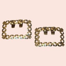 Gold Tone Hatch Pattern  Shoe Buckles Clips