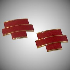 Red Leather Gold Tone Bluette Shoe Clips