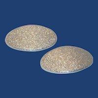 TipToe Oval Silver Glitter Shoe Buckles Clips