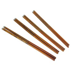 Set of 4 natural Wood Chop Sticks with Faux Silver Tips