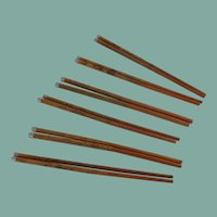 Set of 6 Natural Wood Chop Sticks with Faux Silver Tips