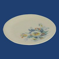 Taylor Smith Taylor Bread Plate Blue Yellow Aqua Flowers