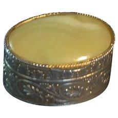Citrine Italy Gold Tone Pill Trinket Box