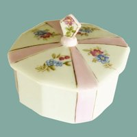Vanity China Pink and White Flower Powder Box