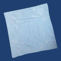 Light Baby Blue with White Applique Flowered Handkerchief