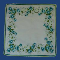 White with Aqua Flowers and Tatted Edging Handkerchief