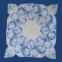 Blue Orchids Handkerchief on White