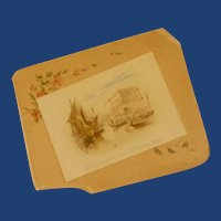 1900's Christmas Card Venice Picture on Paper Easel