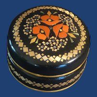Black Wood Lacquered Round Trinket Box
