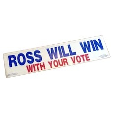 """Ross Will Win"" Car Decal 1992"