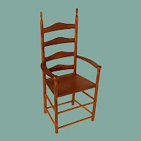 Wooden High Back with Arms Doll Chair