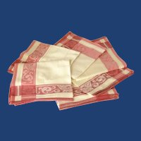 Set of 6 Pink Rose Linen Damask Lunch Napkins