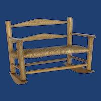 Doll  Oak Wood and Rush Seat Rocker Bench