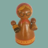 Wooden Mother with Two Babies Peg Doll