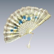 Beautiful Off White & Blue Lace Flowered Fan