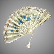 Beautiful Off White & Blue Lace Flowered Fan