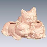 Three Kitten Cat Figure Pink Planter
