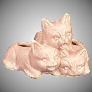 Three Kitten Cat Figure Pink Planter