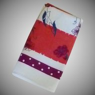 Red / Purple Vintage Morning Glory Flowers Table Cloth