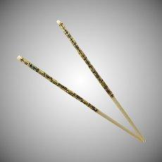Asian Cloisonne Bone Color Ceramic Chopsticks Set