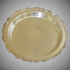 Old English Silver Plate Round Tray with Feet