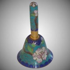 Aqua  Blue Floral Oriental Miniature Cloisonné Enamel Brass Small Bell