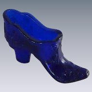 Mosser Cobalt Blue Small Glass Slipper Shoe