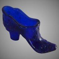 Mosser Cobalt Blue Small Glass Slipper Shoe