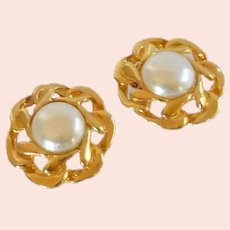 Faux Pearl Gold Tone Shoe Buckles Clips for Pumps
