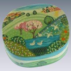 Paper Mache Hand Painted Trinket Box