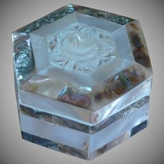 Bethlehem Mother of Pearl and Abalone Wood Trinket Box