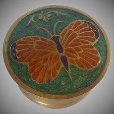 Cloisonné Enamel Brass Trinket Box with Butterfly
