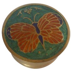 Cloisonné Enamel Brass Trinket Box with Butterfly