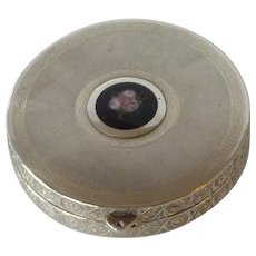 Sterling Silver Elgin Powder Compact with Guilloche Rose
