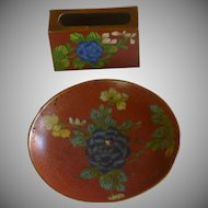 Cloisonné Enamel Ashtray and Match Safe