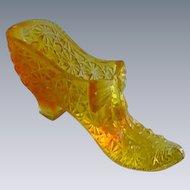 Boyd Daisy Button & Bow Amber Glass Slipper Shoe