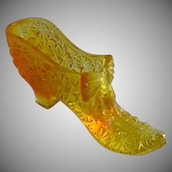 Boyd Daisy Button & Bow Amber Glass Slipper Shoe